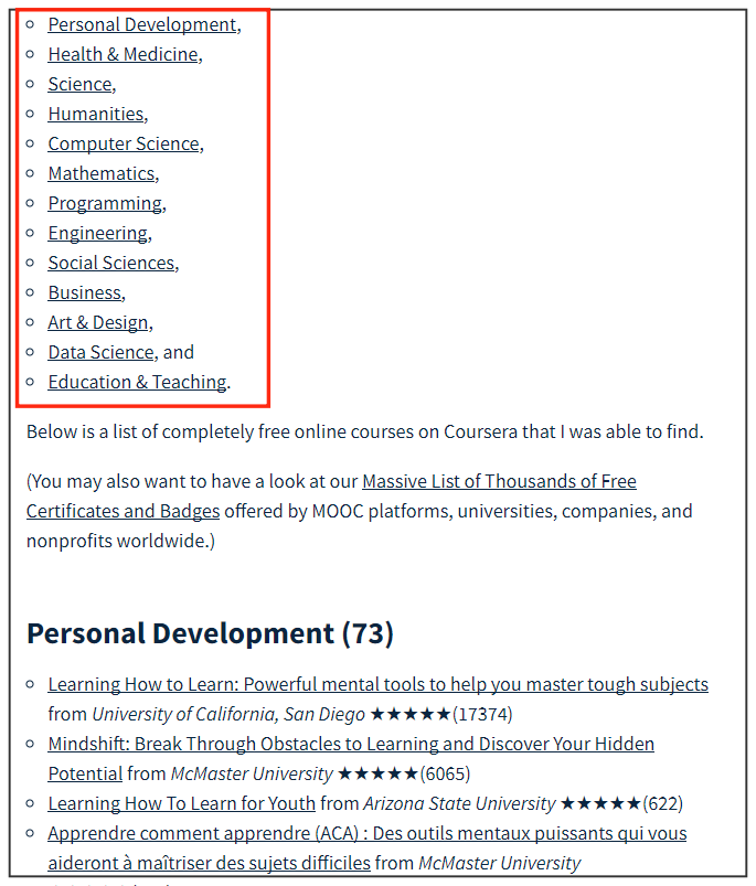 class central Coursera free courses