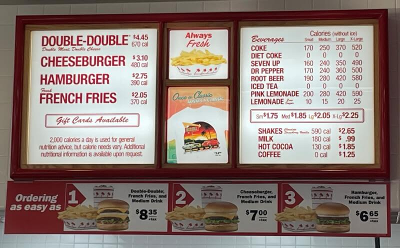 IN-N-OUT メニュー